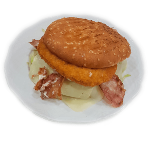 hamburguesa de pollo y bacon